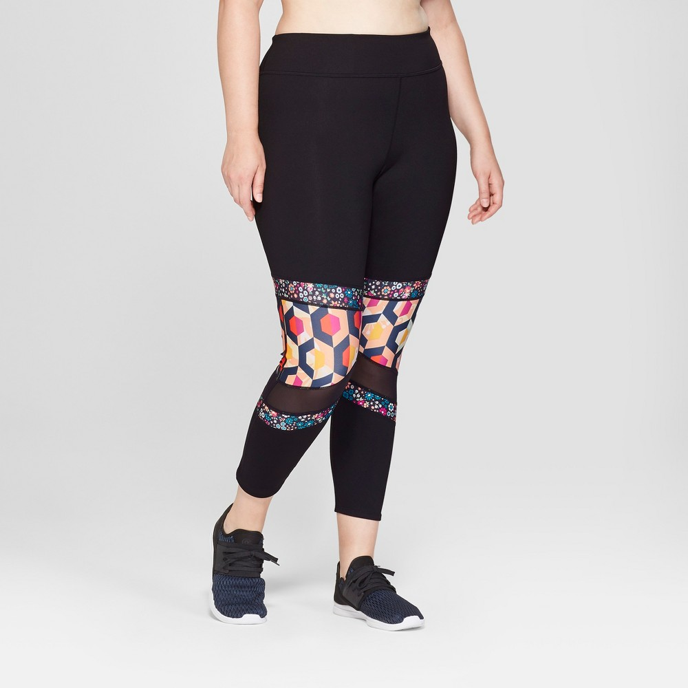 Women's Plus Size Bold Collage Printed Performance Mid-Rise 7/8 Leggings 24 - JoyLab Black 4X
