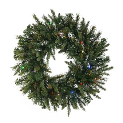Vickerman Cashmere 84 Inch Decorative Artificial Prelit Holiday Christmas Wreath with Multi Color LED Lights for Holiday Season