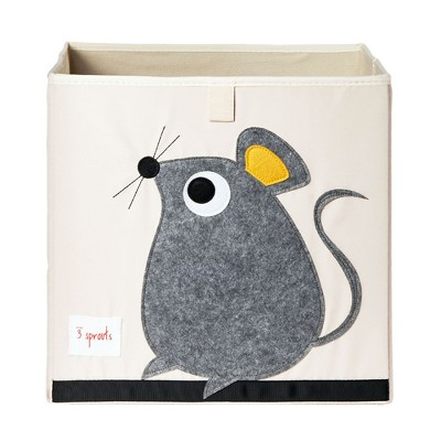 3 Sprouts Large 13 Inch Square Children's Foldable Fabric Storage Cube Organizer Box Soft Toy Bin, Gray Mouse