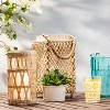 """9"""" Bamboo and Straw Outdoor Lantern with Glass - Opalhouse™ - image 2 of 3"""