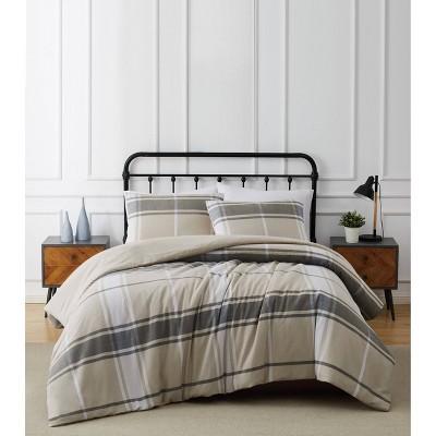 Preston Plaid Flannel Comforter Set Khaki - Truly Soft