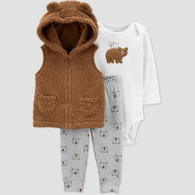 Baby Boys' Sherpa Bear Top & Bottom Set - Just One You® made by carter's Brown Newborn