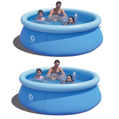 JLeisure Avenli 17806 8 Foot x 25 Inch 2 to 3 Person Capacity Prompt Set Above Ground Kid Inflatable Outdoor Backyard Swimming Pool, Blue (2 Pack)