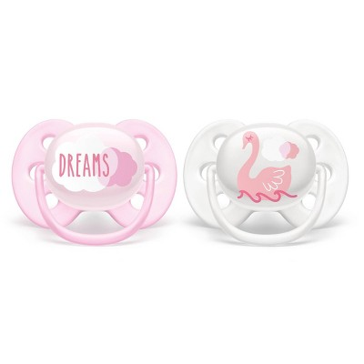 Philips Avent 2pk Ultra Soft Pacifier - 0-6 Months - Dreams/Swan Designs