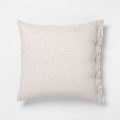 "18"" x 18"" Snap Closure Throw Pillow Taupe - Hearth & Hand™ with Magnolia"