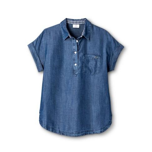 143d3c1d249 Women's Short Sleeve Chambray Popover Shirt - Blue - Vineyard Vines ...