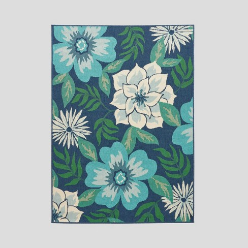 5 3 X 7 Meza Floral Outdoor Rug Blue Green Christopher Knight Home Target