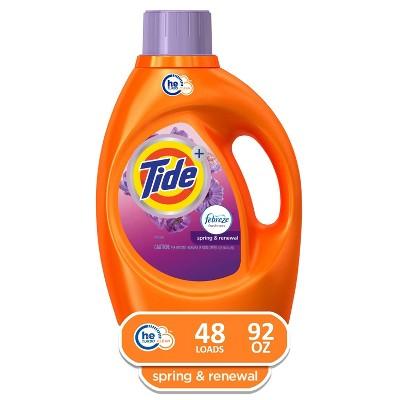 Tide Plus Febreze Spring & Renewal High Efficiency Liquid Laundry Detergent - 92 fl oz