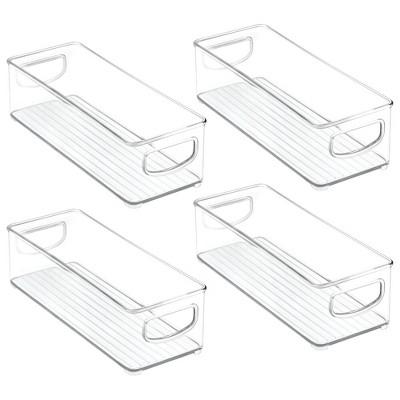mDesign Tall Plastic Kitchen Food Storage Organizer Bin, Handles, 4 Pack