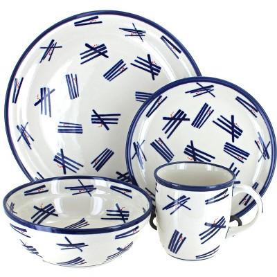 Blue Rose Polish Pottery Zoe 16 Piece Dinnerware Set