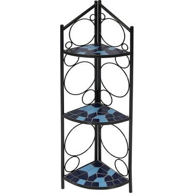 "44"" Steel 3-Tier Mosaic Tiled Outdoor Corner Display Shelf - Blue - Sunnydaze Decor"