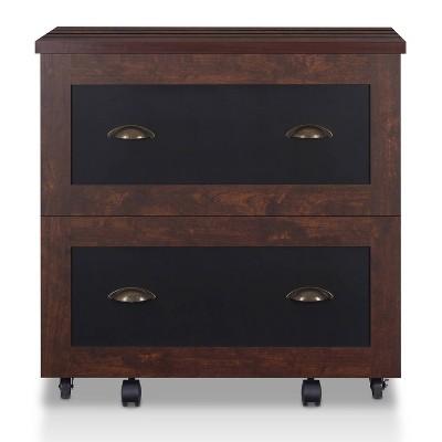 Garon Rustic 2 Drawer Filing Cabinet Walnut- miBasics