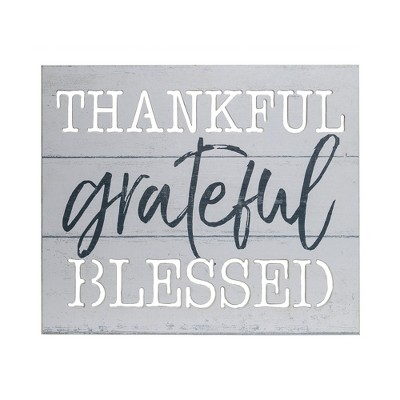 16 x20  Thankful Grateful Blessed Wood Plank Wall Art White - Patton Wall Decor