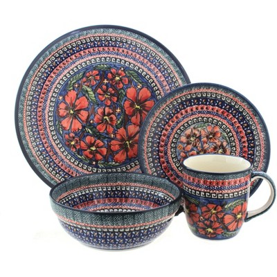 Blue Rose Polish Pottery Jungle Flower 16 Piece Dinner Set