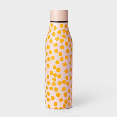 20oz Double Wall Stainless Steel Vacuum Water Bottle Woodblock Dot Peach - Room Essentials™