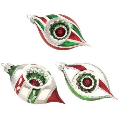 """Santa Land 3.5"""" Holiday Mint Petite Relectors Ornament S/3 Drop Indent  -  Ornament Sets"""