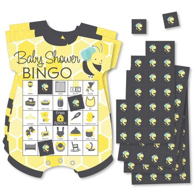 Big Dot of Happiness Honey Bee - Picture Bingo Cards and Markers - Baby Shower Shaped Bingo Game - Set of 18