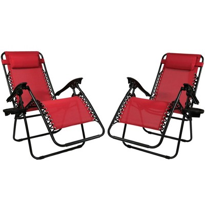 Zero Gravity Lounge Chair with Pillow and Cup Holder - Set of 2 - Red - Sunnydaze Decor