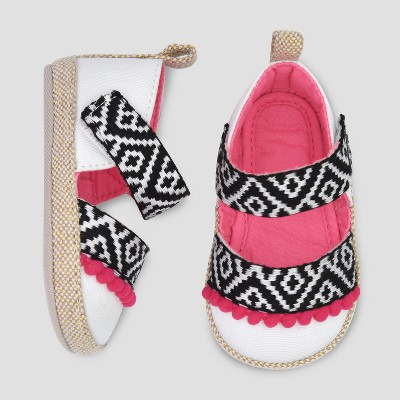 Baby Girls' Espadrille Sandals with Poms - Cat & Jack™ White 0-3M