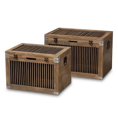 2pc Clement Wood Spindle Storage Trunk Set Brown - Baxton Studio