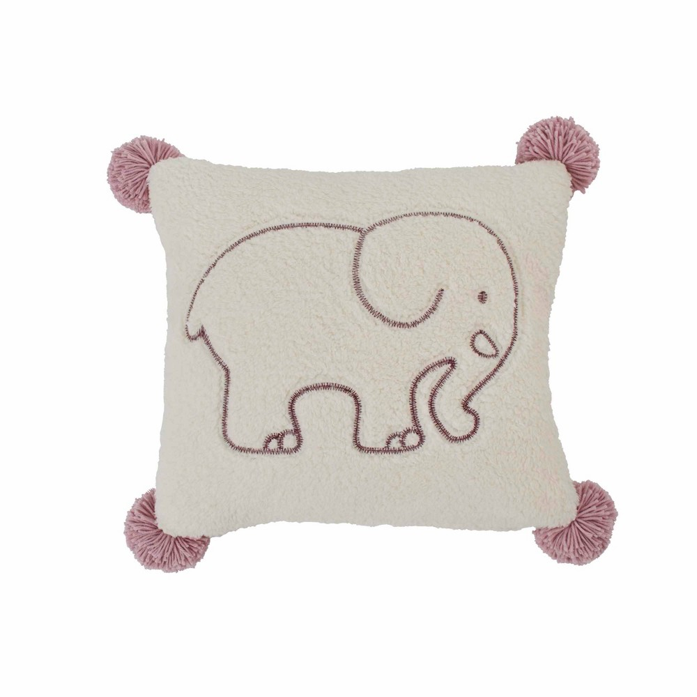 "Image of ""Ivory Ella 20""""x20"""" Sherpa Throw Pillow Purple"""