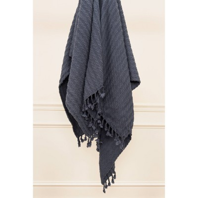 """50""""x60"""" Textured Striped Throw Navy - Rizzy Home"""