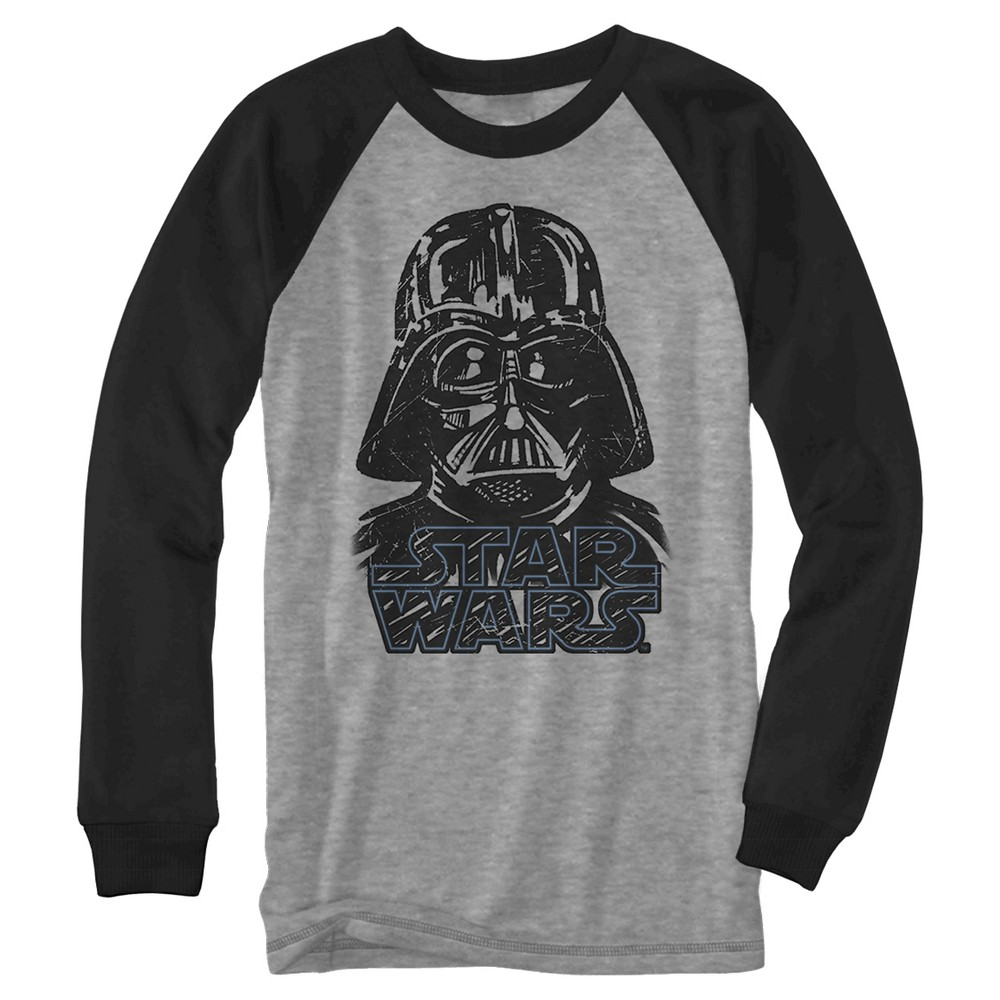 Boys' Star Wars Tone It Down Long Sleeve Graphic T-Shirt - Black M, Heather Gray