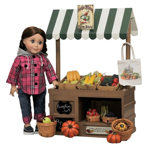 "The Queen's Treasures® 18"" Wooden Farmstand & Doll Outfit - image 1 of 8"