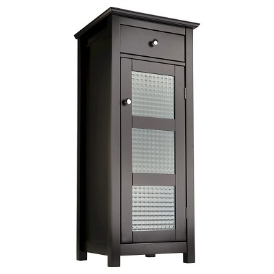 Chesterfield 1 Door Floor Cabinet with Drawer Dark Espresso - Elegant Home Fashions
