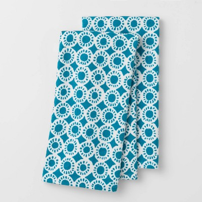 2pk Medallion Flat-Woven Hand Towels Blue - Opalhouse™