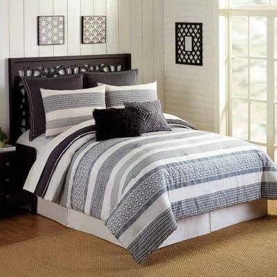 Presidio Square 7pc Deco Stripe Comforter & Sham Set Gray/Ivory