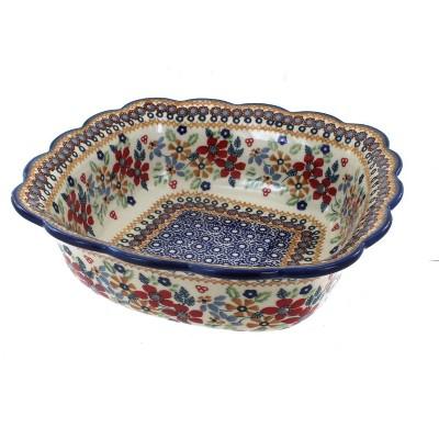 Blue Rose Polish Pottery Red Daisy Medium Square Serving Dish