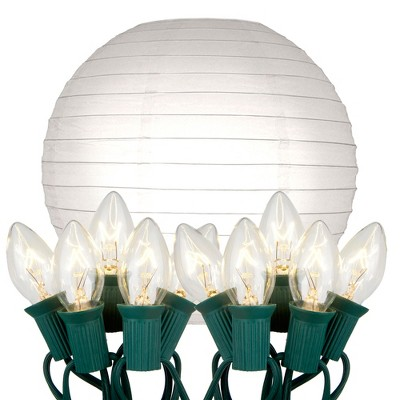 """10ct 10"""" Electric String Light with Paper Lanterns White"""