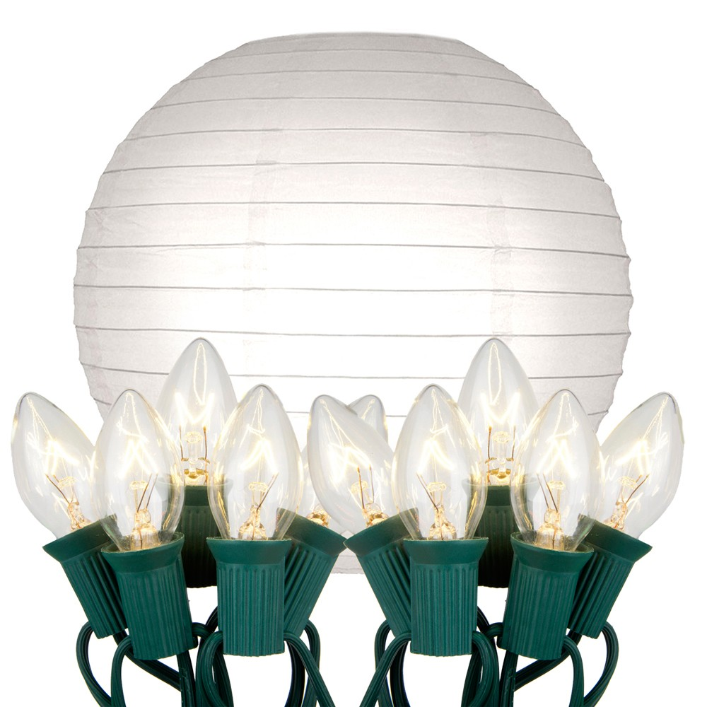 "Image of ""10ct 10"""" Electric String Light with Paper Lanterns White"""