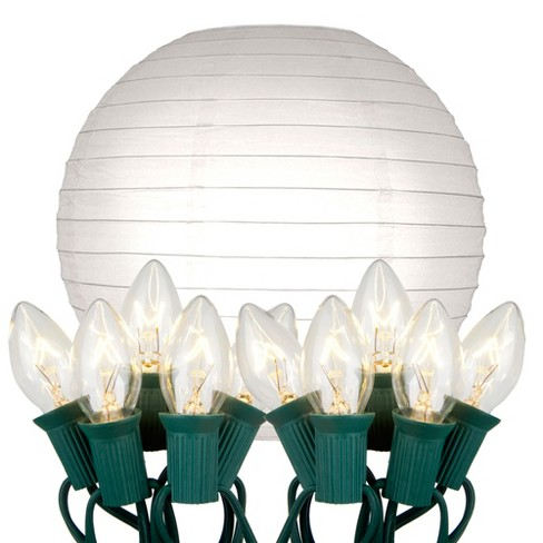 """10ct 10"""" Electric String Light with Paper Lanterns White - image 1 of 3"""