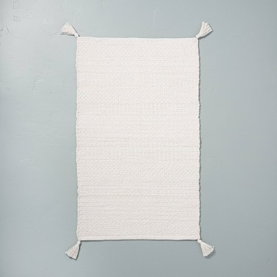 Tonal Bath Rug with Corner Tassels Sour Cream - Hearth & Hand™ with Magnolia