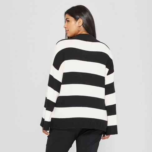 246f7a1515 Women s Plus Size Striped Long Wide Sleeve Pullover Sweater - Who What  Wear™ Black White 2X   Target
