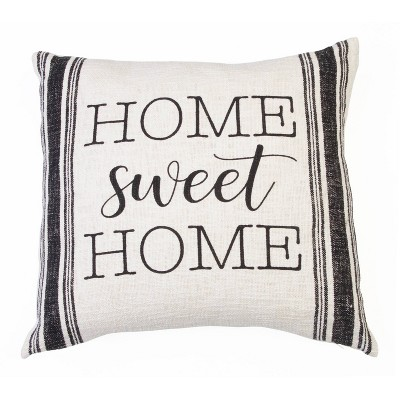 "20""x20"" Rae Home Sweet Home Printed Cotton Pillow Black - Décor Therapy"