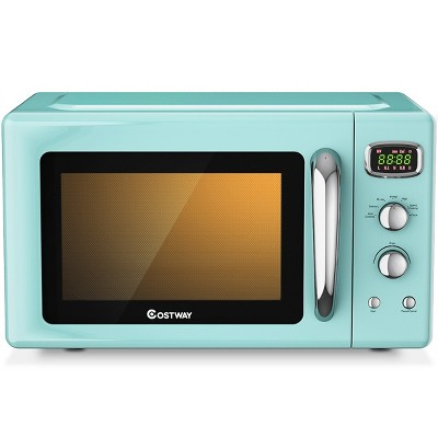 Costway 0.9Cu.ft. Retro Countertop Compact Microwave Oven 900W 8 Cooking Settings BlackGreenWhite