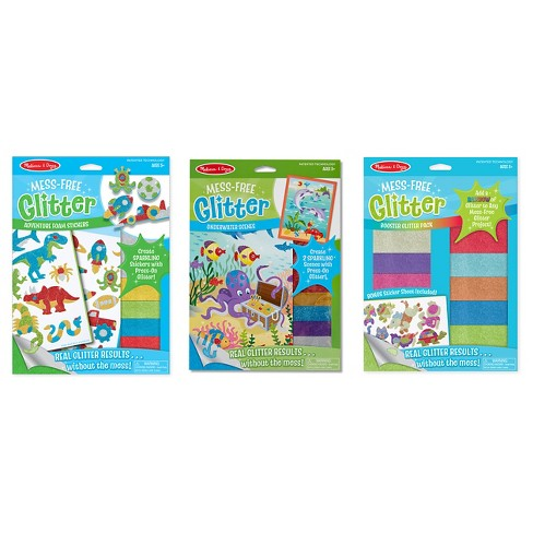 Melissa & Doug® Mess-Free Glitter Activity Kits Set - Underwater Scenes, Adventure Foam Stickers, and Booster Glitter Pack - image 1 of 11