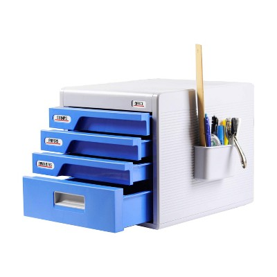 SereneLife 4 Drawer Home Office File Cabinet Desk Storage Organizer with Combination Lock for Papers, Tools, and Craft Supplies