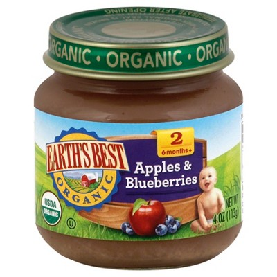 Earth's Best Organic Stage 2 Apples & Blueberry Jar - 4oz