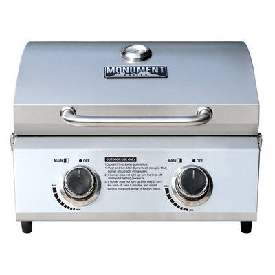 2-Burner Portable Tabletop Stainless Steel Propane Gas Grill Model 13742 - Monument Grills