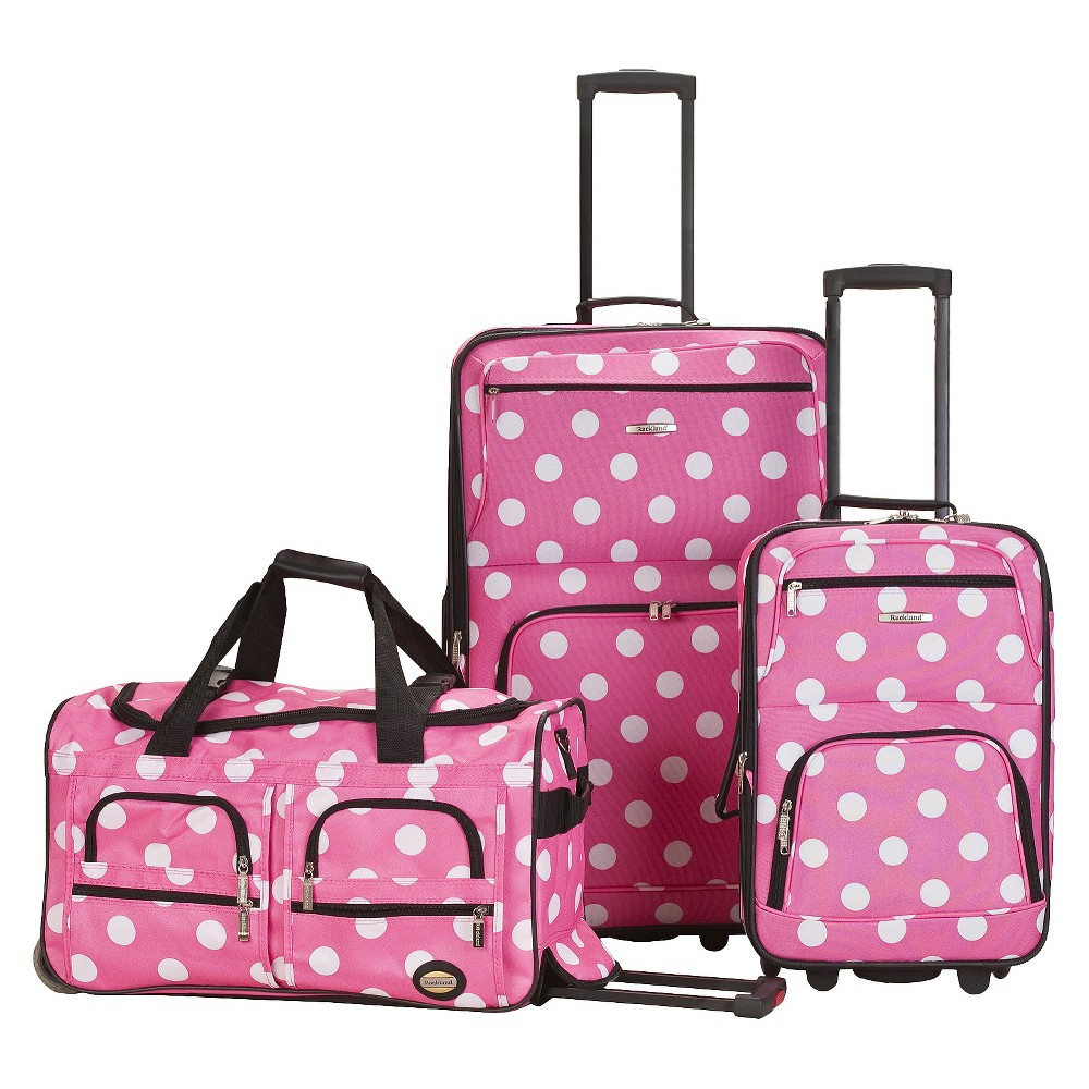 Rockland Spectra 3pc. Expandable Rolling Luggage Set - Pink Dot, Pink/White