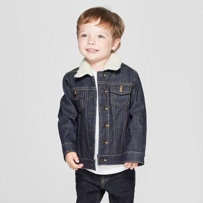 Genuine Kids® from OshKosh Toddler Boys' Trucker Track Jacket with Sherpa Collar - Dark Blue 2T