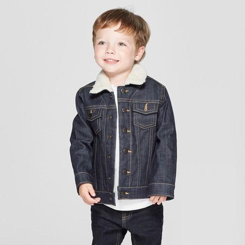33d94938 Genuine Kids® from OshKosh Toddler Boys' Trucker Track Jacket with Sherpa  Collar - Dark Blue