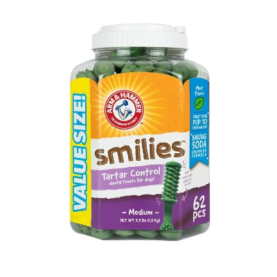 Arm & Hammer Smilies Tartar Control Dental Dog Treats - 62ct