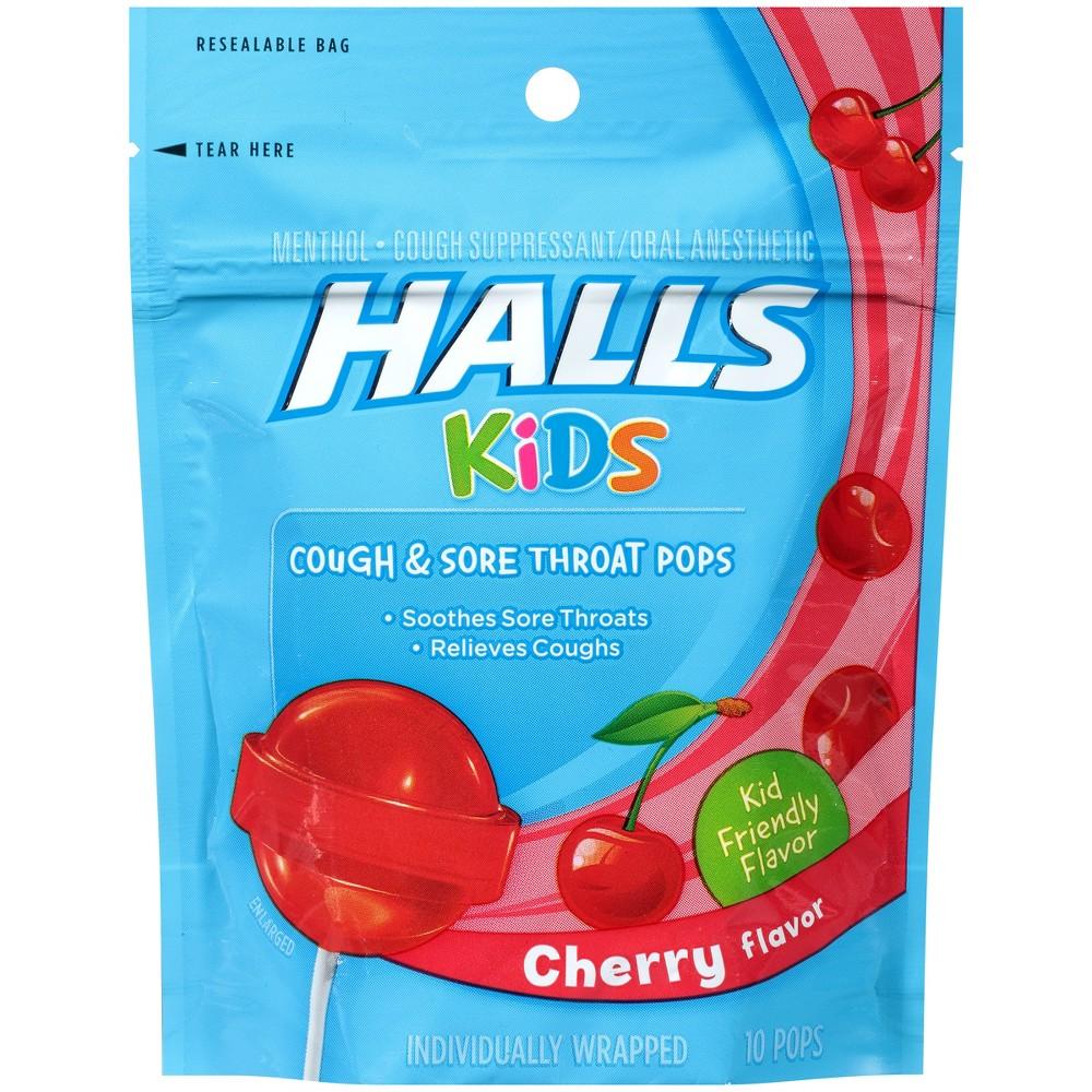 Halls Kids' Cough & Sore Throat Pops - Cherry - 10ct