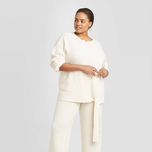 Women's Plus Size Crewneck Tie Waist Sweater - A New Day™ Cream 4X - image 1 of 3
