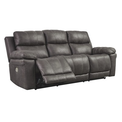 Erlangen Power Reclining Sofa With Adjustable Headrest Mid Gray   Signature  Design By Ashley